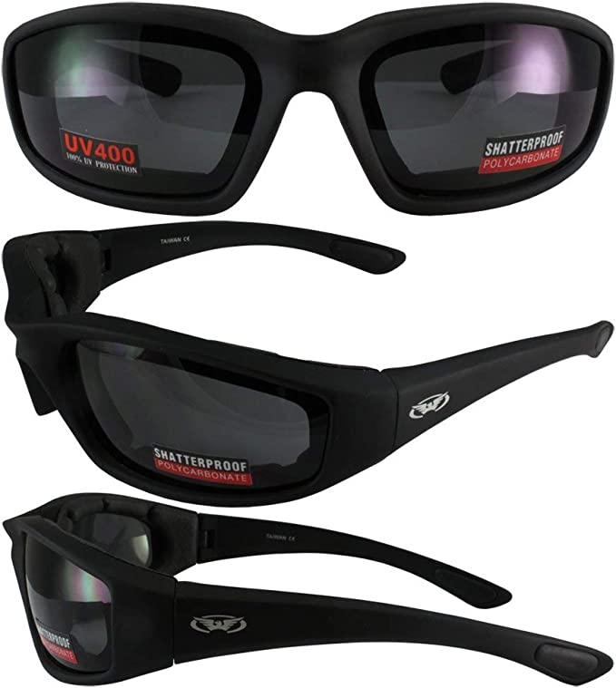 Kickback Foam Padded Motorcycle Riding Sunglasses ATV-Clear Lenses-Free Pouch