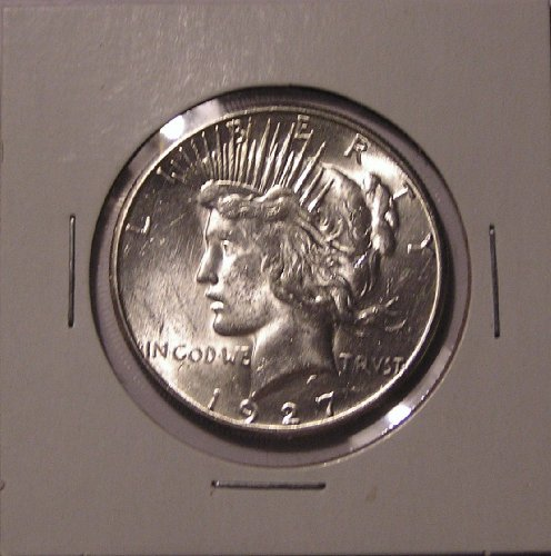 - 1927-S Peace Silver Dollar, Choice BU