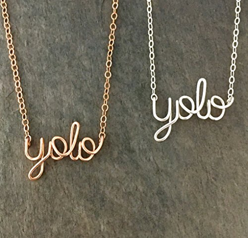 yolo Necklace. You Only Live Once Silver or Gold Filled Wire Necklace