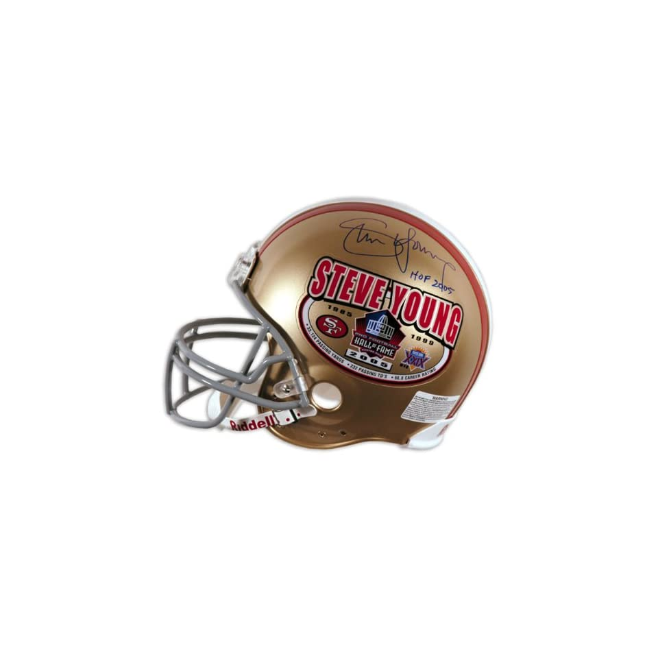 Steve Young Autographed Helmet   Authentic Hall of Fame Edition with HOF Inscription