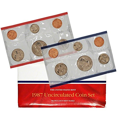 - 1987 Various Mint Marks P & D United States US Mint 10 Coin Uncirculated Mint Set Uncirculated