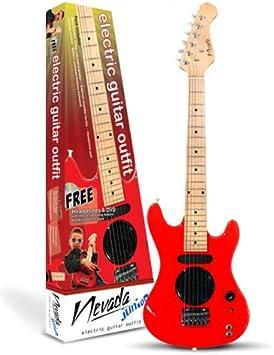 Rojo Nevada Junior Guitarra eléctrica Outfit – Incluye Auriculares ...