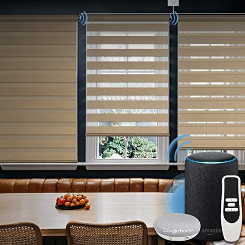 Graywind Motorized Zebra Sheer Shade Compatible with Alexa Google WiFi Smart Home Hardwired Plug-in Horizontal Window Blinds Window Shades Light Filtering Window Blinds, Customized Size Coffee
