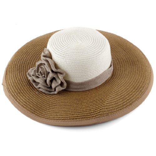 Flower Hat Embellished (Lady Floppy Textured Woven Wide Brim Flower Embellished Sun Hat)
