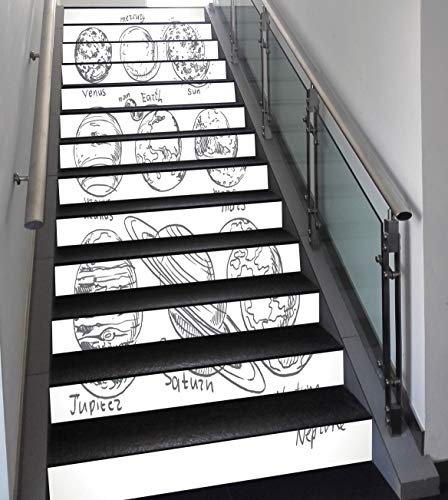 Stair Stickers Wall Stickers,13 PCS Self-adhesive,Doodle,Planets of Solar System Sun Mercury Earth Moon Mars Neptune Saturn Jupiter Science,Black White,Stair Riser Decal for Living Room, Hall, Kids Ro by SCOCICI