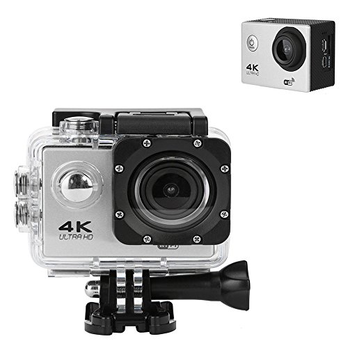 TANGON 4K Ultra HD Sport Action Camera Underwater Cam WIFI Waterproof 100 feets 12MP 170°A Wide Angle 2 Inch LCD Screen Remote Control (Silver) TANGON