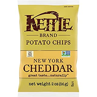 Kettle Brand Potato Chips, New York Cheddar Kettle Chips, 2 Oz (Pack of 6)