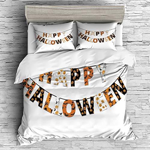 3 Pieces (1 Duvet Cover 2 Pillow Shams)/All Seasons/Home Comforter Bedding Sets Duvet Cover Sets for Adult Kids/Double/Halloween,Happy Halloween Banner Greetings Pumpkins Skull Cross Bones Bats Pennan