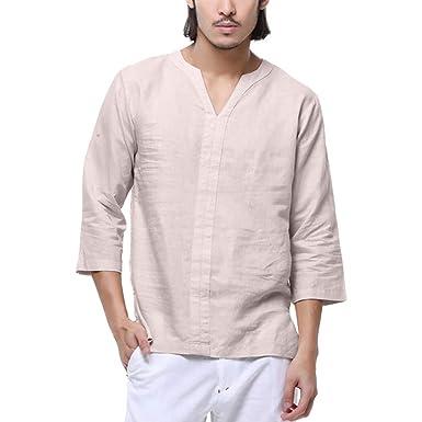 eefa9f7326f Fitfulvan Men s Blouse Baggy Cotton Linen 3 4 Sleeve Retro V Neck T Shirts  Tops