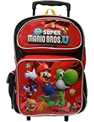 Super Mario Bros School Rolling Red Backpack