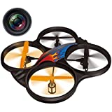 Haktoys HAK907C 17 Diagonal 2.4GHz 4CH RC Quadcopter, 6 Axis Gyroscope, Loop Function, Rechargeable, Ready To Fly, and LED Light (Camera Included)
