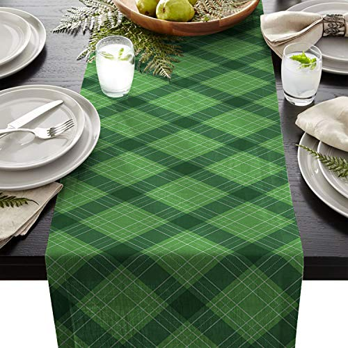 WAZZIT St. Patrick's Day Cotton Table Runner Decorative - Holiday Table Setting Decor Single Layer 16x72inch Traditional Buffalo Lattice Green from WAZZIT