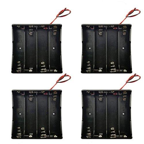 4 pack Battery Holder,SACKORANGE 18650 Battery Storage Case Plastic Box Holder Leads With 4 Slots for 6