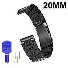 N.Oranie MOTO 360 2nd Gen Watch Band Stainless Steel Bracelet Three Pointers Watch Strap with Metal Clasp Classic Buckle Wrist Strap for MOTO Smart Watch (Width 20mm for 42mm Men Case, Black)