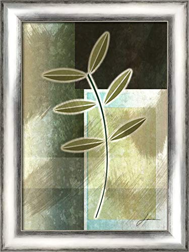 Brushed Metro Stems III 20x24 Silver Contemporary Wood Framed Canvas Art by Burghardt, ()