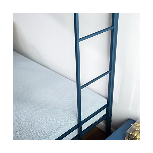 Zinus Easy Assembly Quick Lock Metal Bunk Bed Dual Ladders, Twin Over Twin, Blue 7