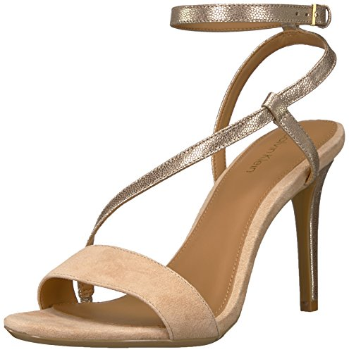 Calvin Klein Women's Nyssa Heeled Sandal, Sand, 7 Medium (Asymmetrical Leather Sandals)