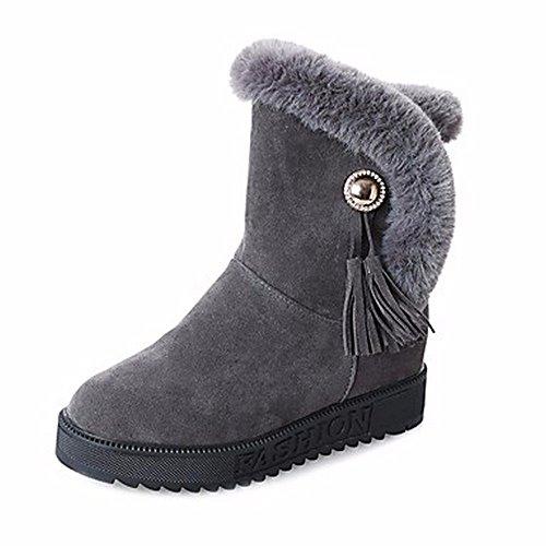 Neige Plat Bout Armée Zhudj D'hiver Vert Noir Pu Gray Pour Gris Talon Chaussures Un Femmes Bottes Rond p8fUqX