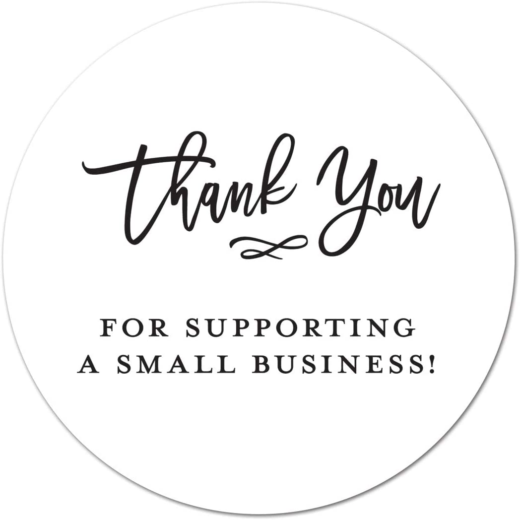 50 White Thank You Stickers BULK Hand Made With Love Labels Round Business Craft