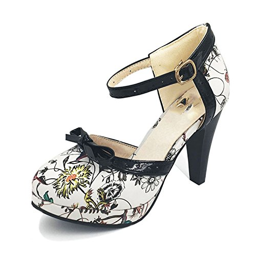 Sky-Pegasus Size 32-48 Women High Heel Shoes Round Toe Heels Sandals Print Platform Sandals Black Bow,Orange Flower,9 -