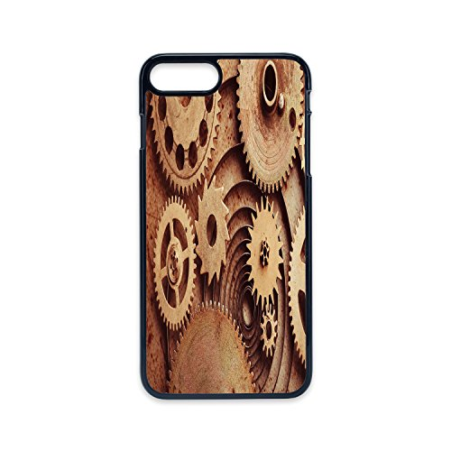 Phone Case Compatible with iPhone7 Plus iPhone8 Plus 2D Print Black Edge,Industrial Decor,Inside The Clocks Theme Gears Mechanical Copper Device Steampunk Style Print,Cinnamon,Hard Plastic Phone Case