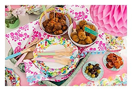 Talking Tables Floral Fiesta Large Colorful Disposable Plates 12 count Birthday or Luau Party FST-PLATE-SML for a Tea Party