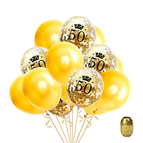 16 Pcs 50th Birthday Party Gold Balloon,Confetti Balloons Latex Balloon Printed with Happy Birthday and Number of 50,12 Inch Perfect for 50 Years Old Birthdays Party,1 Pack Random Color String