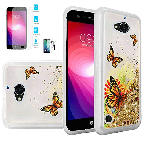 Wal Mart Flat Screen - Phone Case For Walmart Family Mobile LG Fiesta 2, Straight Talk LG Fiesta 2, LG X-Power-2, LG Fiesta Tempered Glass Screen with Liquid Quicksand Glitter Cover (Quicksand Butterfly / Tempered Glass)