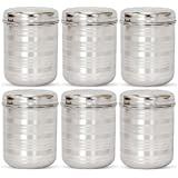 Jagani Steels Stainless Steel Storage Container Multi Purpose Unbreakable Canister, 1000 ml - Set Of 6 Pcs
