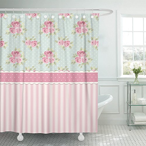 (Emvency Shower Curtain Colorful Cute Shabby Chic Roses and Polka Dots Waterproof Polyester Fabric 72 x 78 Inches Set with Hooks)