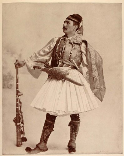 [1893 Chicago World's Fair Portrait Greek Brigand Man Costume Midway Plaisance - Original Halftone] (Greek Stage Costumes)