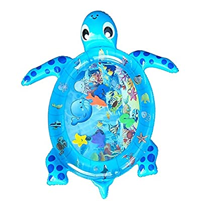 Gcroet Water Play Mat Inflatable Sea Turtle Shape Tummy Time Water Mat for Toddlers Newborn Baby Summer Toys(Blue): Toys & Games