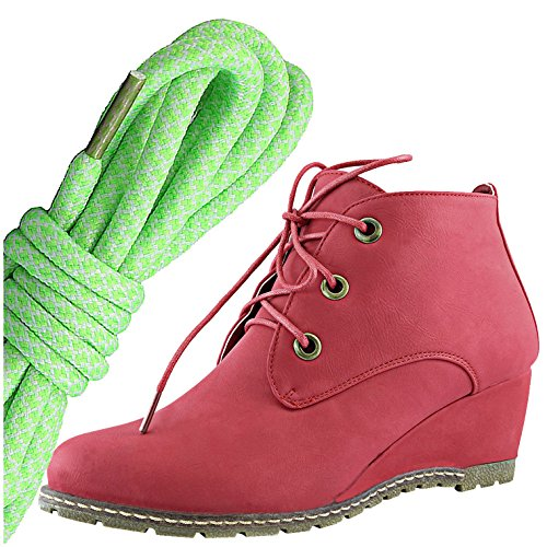 Dailyshoes Femmes Mode Lace Up Bout Rond Cheville Haute Oxford Wedge Bottine, Lime Blanc Rouge Pu