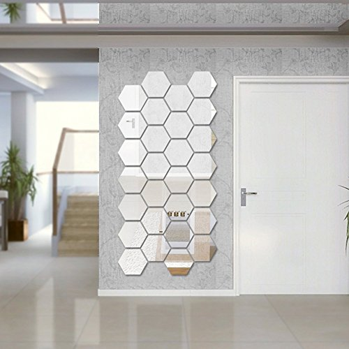 - BLEUM CADE Hexagon Mirror DIY 12 PCS Geometric Hexagon Mirror Decoration 3D Mirror Wall Stickers Removable Hexagon Mirror Personalized Art Hexagonal Acrylic Mirror (16cm/6.3inch, Silver)