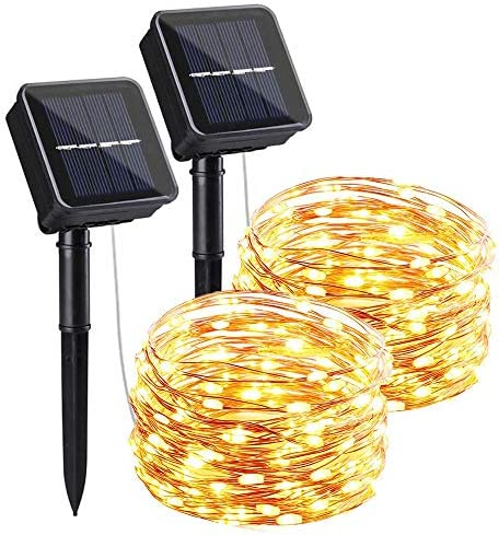 Solar String Lights 2 Pack, 8 Modes 66FT 200LED Solar Fairy Lights Copper Wire Solar Powered Fairy Lights Outdoor Waterproof for Christmas, Garden, Bedroom, Patio, Party, Outdoor Decorative