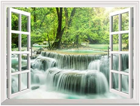 Removable Wall Sticker Wall Mural Waterfall in Thailand Creative Window View Wall Decor
