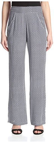James & Erin Women's Printed Flat Front Pant, Black/White, XS by James & Erin