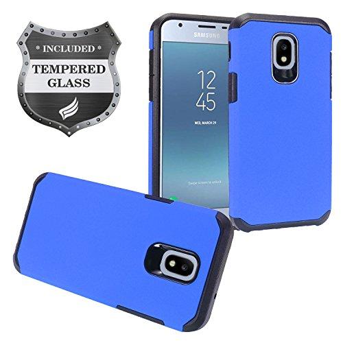 Z-GEN - Galaxy J3 2018 J3 Star/Achieve/Aura/Orbit, Sol3, Express Prime 3, Amp Prime 3, J3 V J3V 3rd Gen J337 - Rubberized Hybrid Case for Samsung + Tempered Glass Screen Protector - AH2 Blue Blue Rubberized Protector Case