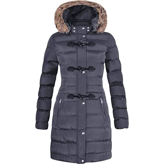 Spindle Womens Long Fur Trimmed Hooded Padded Puffer Parka Ladies