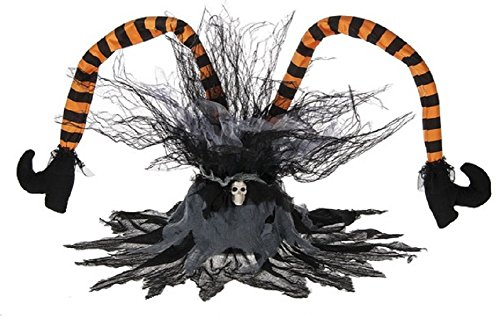 Kicking Screeching Sound Activated Witches Legs 36 Inch Halloween Decoration, Orange