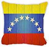 "Rikki Knight Venezuela Flag on Distressed Wood Design 18"" Square Microfiber Throw Decorative Pillow with Double Sided Print (Insert NOT Included)"