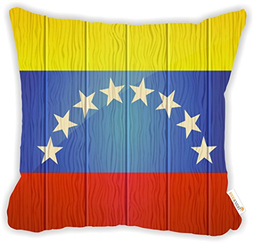 """Rikki Knight Venezuela Flag on Distressed Wood Design 18"""" Square Microfiber Throw Decorative Pillow with Double Sided Print (Insert NOT Included) by Rikki Knight (Image #1)"""