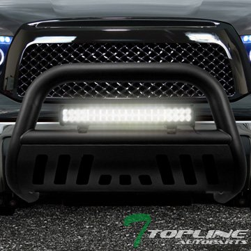 Topline Autopart Matte Black HD Bull Bar Guard+120W Cree Led Fog Light 07-14 Toyota Tundra/Sequoia