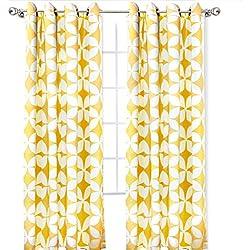 "DriftAway Amelia Thermal Blackout/Room Darkening Grommet Window Curtains,Retro Geo Pattern, Round Circle Star Print, Set of Two Panels, each (52""x84"", Yellow)"