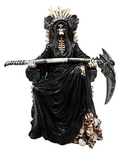 Ebros Gift Black Holy Death Grim Reaper Sitting On Skeleton Throne Figurine 10.5