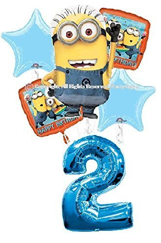 DESPICABLE ME MINIONS 2ND BIRTHDAY BALLOONS BIRTHDAY PARTY BALLOONS BOUQUET DECORATIONS SUPPLIES NUMBER 2 BALLOON (Minion Party Supplies)