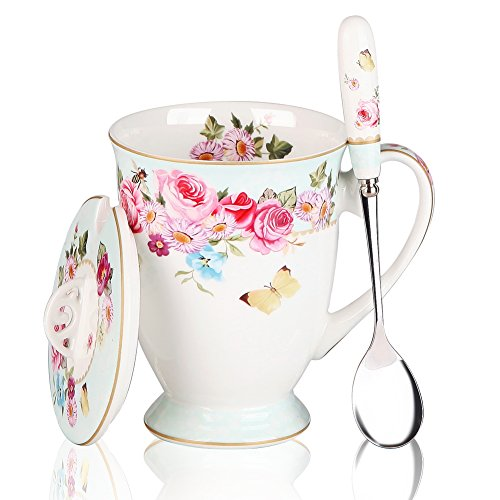China Porcelain Mug (Coffee Mugs Spoon and Lid Café Bone China Porcelain Tea Cups Gift for Women Mom (Blue))
