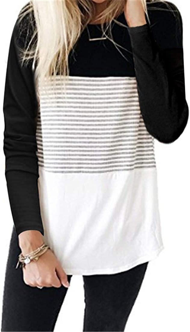 DKKK Women's Round Neck Long Sleeve Color Block Casual Loose Tunic Shirt Blouse Top