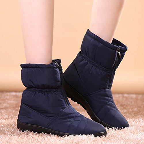 Giy Femmes Mode Imperméable À Leau Fourrure Doublure Bottes De Neige Mi-mollet Plate-forme Hiver Chaud Chausson Chausson Chaussures Bleu