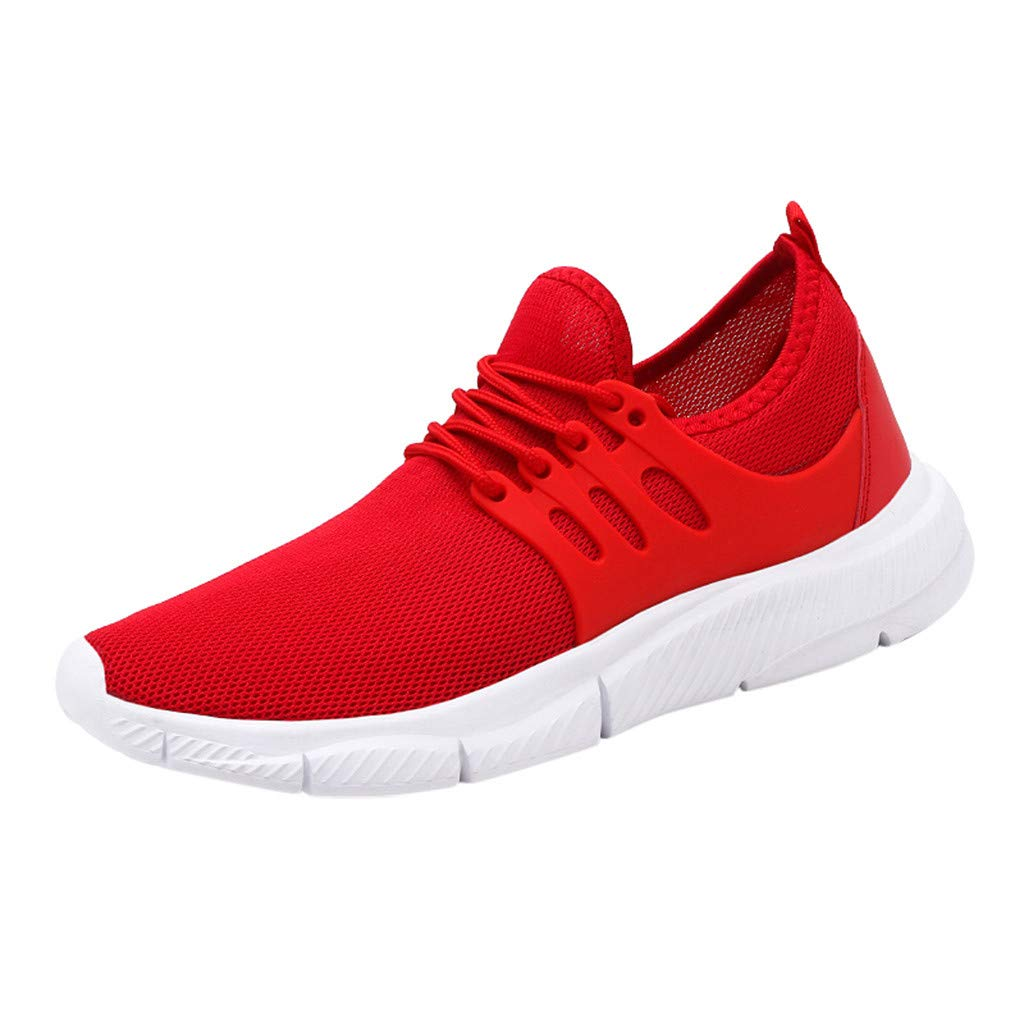 Men's Knit Athletic Running Tennis Sneakers Slip On Tennis Shoes Walking Gym Baseball Jogging Shoes by Lowprofile Red